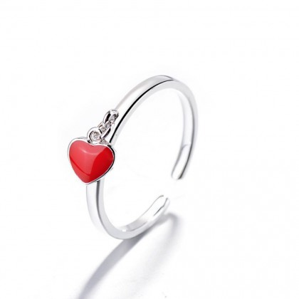 Drop Red Heart Shaped Ring