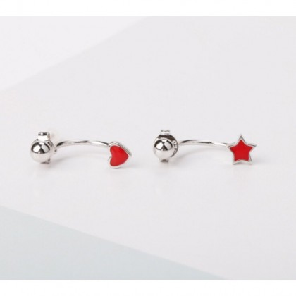 Back Drop Red Star / Red Heart Shaped Earrings