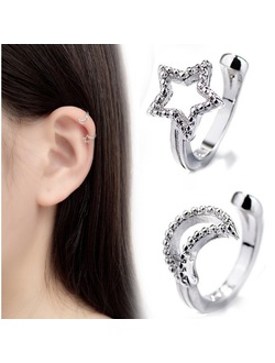 Asymmetrical Moon and Star Ear Cuff Ear Clip