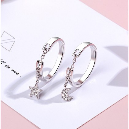 Moon Charm / Star Charm Chain Adjustable Ring