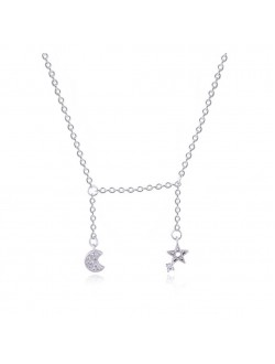 Drop Moon & Star Necklace