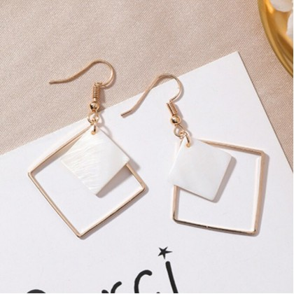 White Shell Square Shaped + Hollow Square Shaped Drop Earrings