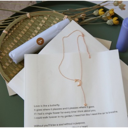 Minimalist Moon and Star Rose Gold Lariat Necklace