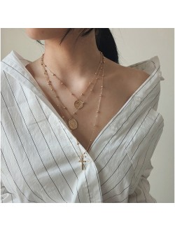 Triple Layered Coin & Cross Necklace