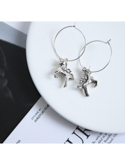 Circle Drop Unicorn Antique Silver Earrings