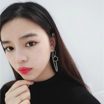 Minimalist Circle and Bar Punk Metal Chain Simplicity Safety Pin Earrings