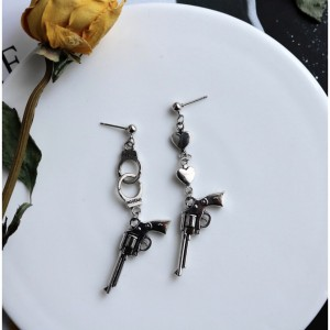 Vintage Silver Punk Pistol Handgun Handcuffs Love Heart Shaped Earrings