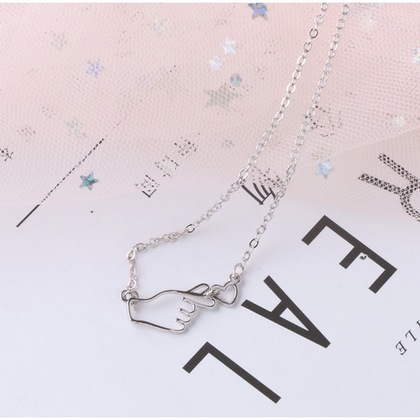 Korean Symbol Love Hand with Heart Shaped Love Gesture Necklace