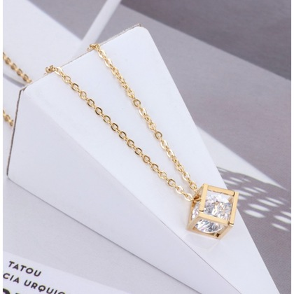 Hollow Out Box Cube with Diamond Shaped Crystal Rhinestone Necklace