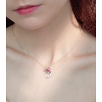 Red Heart Shaped Dream Catcher Necklace