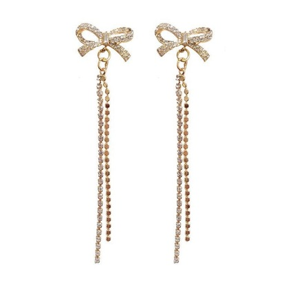 Full Diamond Bowknot Drop Rhinestone Earrings