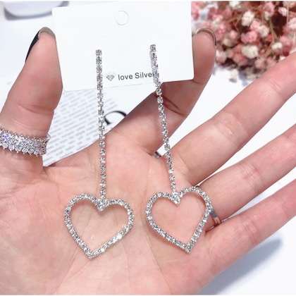 Bling Bling Hollow Heart Shaped Rhinestone Earrings