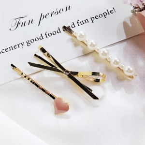 White Pearl & Gold Bowknot and Nude Pink Heart Shaped Hair Clips Set