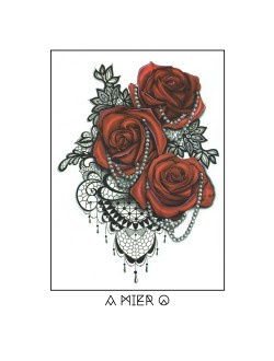 Red Rose Henna Tattoo - No.1 (Large)