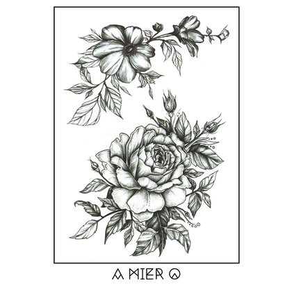Black Ink Flower Tattoo - No.8