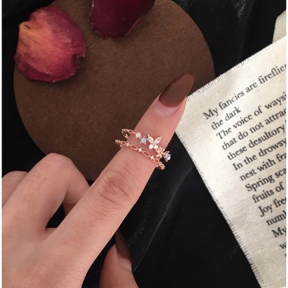 Flower Fairy Series Zircon Double Layered Rose Gold Open Ring Adjustable Ring