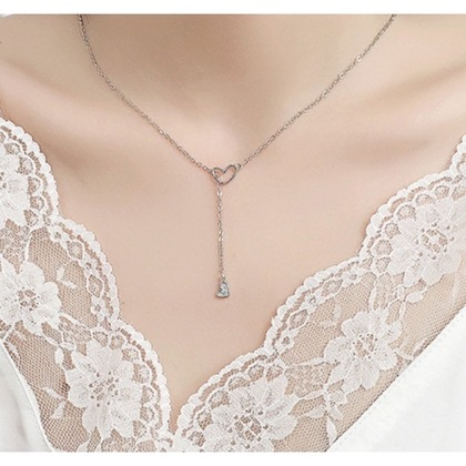 Double Heart Shaped Lariat Necklace