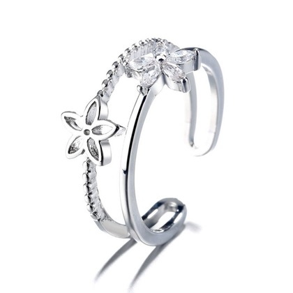 Double Layered Flower Adjustable Ring