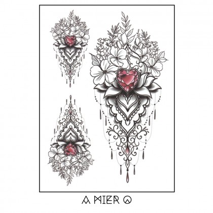 Temporary Tattoo - Henna Flower with Crystal Heart Shaped