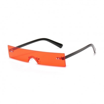 Futuristic One Piece Rimless Tiny Rectangular Sunglasses