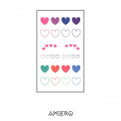 Temporary Tattoo - Colorful Pastel Color Heart Shaped