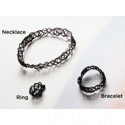 Set of Tattoo Choker Necklace + Bracelet + Ring