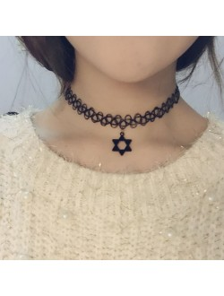 Hexagram Tattoo Choker Necklace