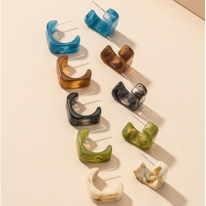 5 Pairs of Different Marble Color Acrylic Earrings Set