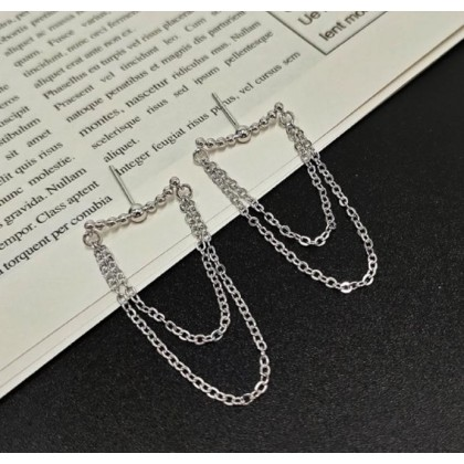 Curve Shaped Metal Ball with Double Layer Chain Stud Earrings