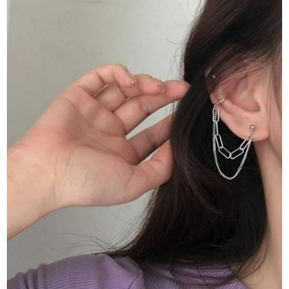 Double Chain with Ear Cuff Clip Earring