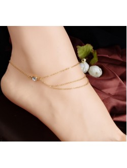 Triple Layered with Diamond Anklet