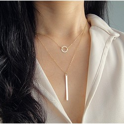 Double Layered Circle and Bar Necklace