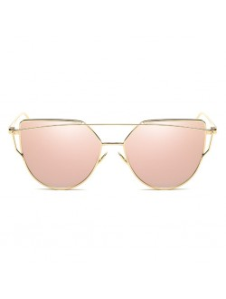 Cat Eye Twin Beams Mirrored Sunglasses