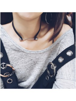 2 Way Double Metal Ball with Bar PU Choker Necklace / Bracelet