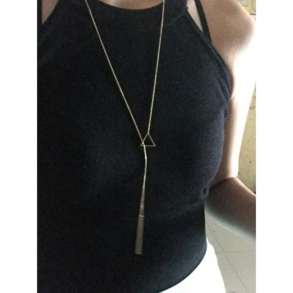 Circle / Triangle 2 Way Long Lariat Pendant Necklace